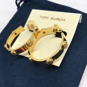 Tory Burch gold tone loop logo earrings
